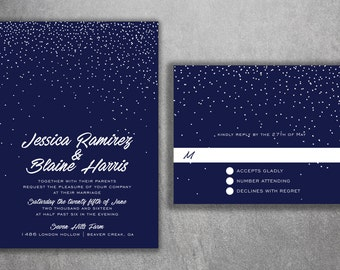 Winter Snow Wedding Invitations Set - Cheap Wedding Invitations, Stars, Night, Blue & White, Affordable Invitations, Lights