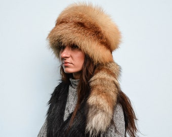 Genuine Natural Brown Fox Fur Women's Fall/Winter Hat WithTail