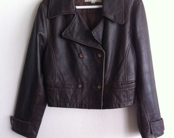 Brown jacket for women, vintage jacket, jacket with real leather, size - large.