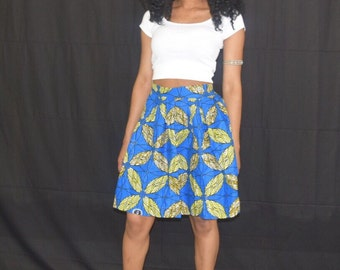 Floral african print pleated mini