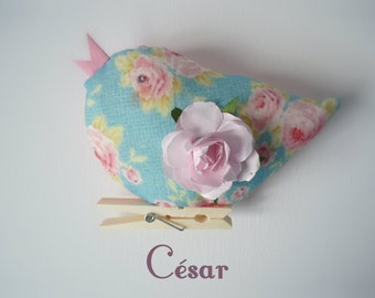 hand made bird of romantic and poetic fabric