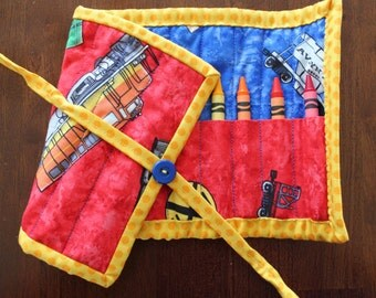 Train Crayon Holder, Red Train Crayon Roll Up, Train Crayon Roll, Boy Crayon Holder, Red Blue Yellow, Handmade, Quilted Crayon Holder