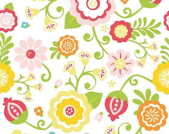 Simply Sweet Fabric, 1/2 Yard, Floral Fabric, Flower Quilting Fabric, Riley Blake Fabric, Pink Red Yellow Blue Orange, C3460