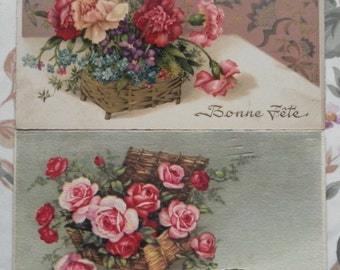 Twelve charming vintage flower postcards ideal for craft work