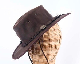 Real Australian Leather Hat. Original Barmah Hat-in-a-Bag. Made in Australia. Chocolate Color