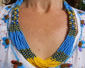 Beaded Necklace / Seed Bead Necklace / Yellow-Blye-Black / Traditional Ukrainian Beads NECKLACE