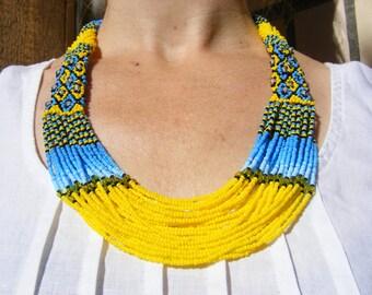 Yellow/Blue Ukrainian Beads Neclace - 100% Handmade jewerly