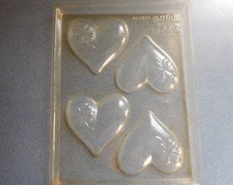 Hearts with Shamrock Design Sheet of 4 Vintage Plastic