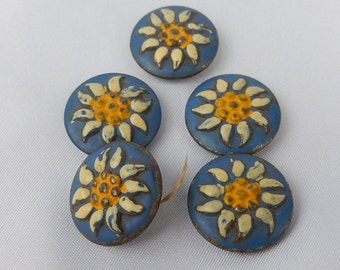 Five Buttons old enamelled plate Art Deco