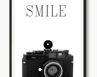 Camera Print, Smile quote, Printable words, Vintage Camera Photo, Retro Wall Art, Photography Poster, Camera Wall Art, Smile Camera quotes