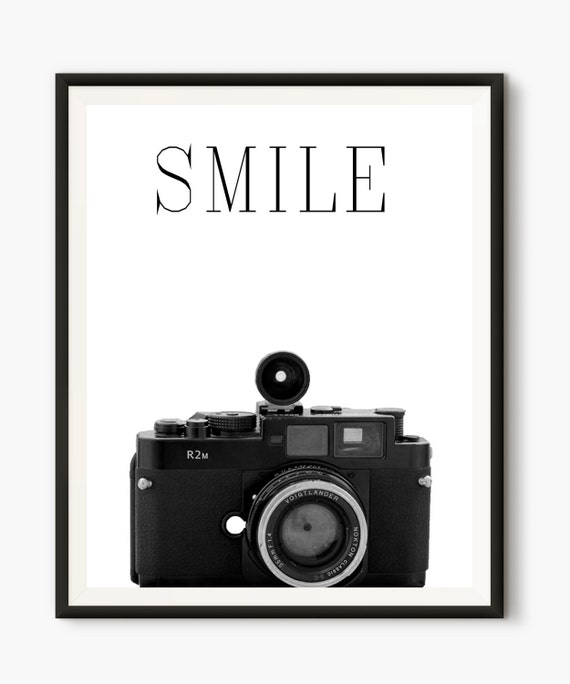 Dslr Camera Funny Quotes: Camera Print Smile Quote Printable Words Vintage Camera