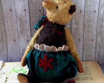 """OOAK Teddy bear vintage """"Noel 2"""", 9 inch"""