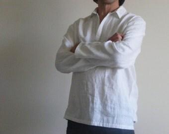 White Mens Linen Shirt /Mexican Wedding Linen / Beach Shirt /Yoga Shirt / Pajamas Shirt / Lounge Shirt / Flax Shirt