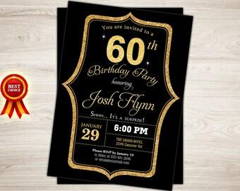 Surprise 60th birthday invitation. Black gold 60th Birthday Invitation for Men. Surprise birthday party invitation Printable birthday invite