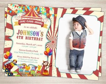 Circus Birthday Invitation. Circus Photo Invitation. Printable Circus Themed Party 4th Birthday Invite Circus Birthday Party Invitation