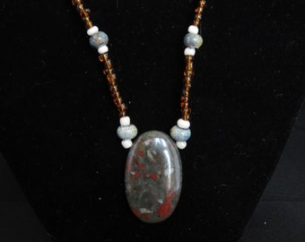 Gray with red toned glass pendant and beaded necklace (022816-004)