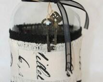 Mason Jar With Black Burlap, Imprinted Canvas Ribbon, Antiqued Wooden Skeleton Keys, Home Decor, Candle Holder, Vase, All Occasion Gift,