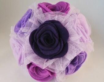 Set of 3 Purple/Lilac Felt Flower Bridesmaid Bouquets - now on SALE!