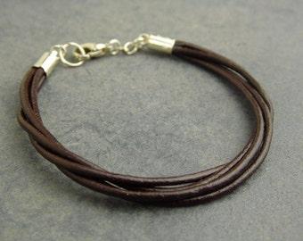 Leather cords bracelet, Leather bracelet , Cords bracelet , Boho bracelet , Brown leather bracelet , Leather jewelry
