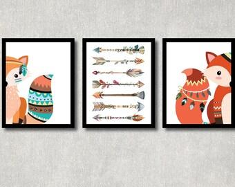 Tribal Fox Set - Woodland Nursery Decor, Printable Forest Creature Art, Boy Baby Shower Poster, Play Room Wall Decor, Tribal Fox Nursery Art