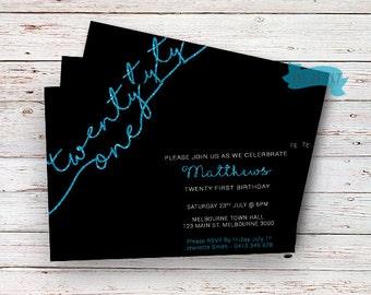 21st Birthday Blue Glitter Invitation,twenty first birthday, adults invitations, Blue 21, Elegant Invitation