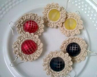 Crochet earrings, beaded crochet earrings, handmade earrings, flower earrings, ivory earrings,, boho jewelry