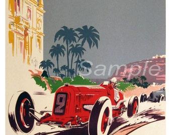 Vintage 1934 Monaco Grand Prix Poster Print