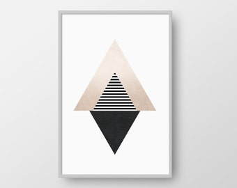 Printable Geometric Art, Modern Abstract Art, Triangle Poster, Scandinavian Print, Nordic Poster, Pink and Black Triangle Art, Minimal Art