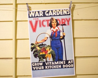 War Gardens for Victory - Vintage Victory Garden Poster Reproduction - Photograph of Woman with Vegetables and a Hoe - WWII Poster