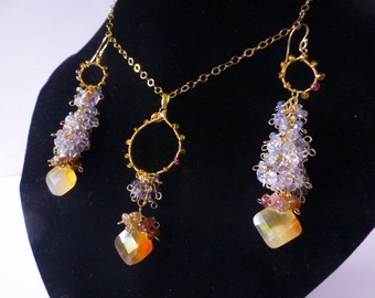 Blue Tanzanite, Orange Carnelian and Pink Tourmaline Elegant Evening Bridal Wedding Set Gold Filled Cluster Earrings and Pendant on Chain