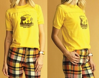 1970's Deadstock I'd Rather Be In Shirt Party Ringer Desert Vacation Tee