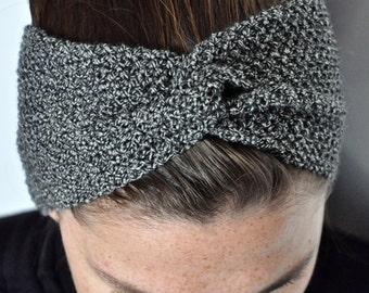 Fine Merino 100% natural for woman or mottled gray child 10cm wool turban headband