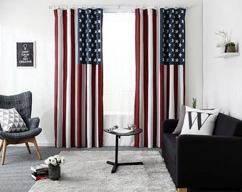 American flag character  Curtain/ Children Kids Boy Girl  Window Curtain