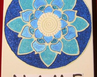Glow-in-the-dark blue lotus personalized artwork 11 x 14
