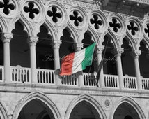Wall Art, Photography Print, Doge's Palace, Italy, Italian Flag,