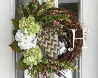 Year Round Wreath, Hydrangea Wreath, Door Wreath, Monogram Wreath, Letter Wreath, Door Swag, All Season Wreath, Summer Wreath, Spring Wreath