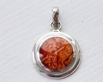 Red Jasper Sterling Silver Circle Pendant