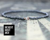 Mens  metal tone bracelet with labradorite - Mens seed bead - Mens metallic bracelet (2,5 mm seed bead/3,5 mm faceted stone)