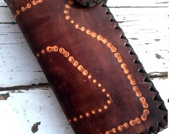 Hand Tooled and Dyed Leather Wallet