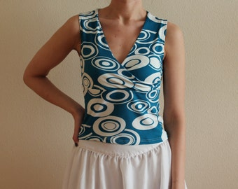 Summer Top Sleeveless Top Abstract Print Top Women's Blouse Blue White Vintage v Neck Tank Top