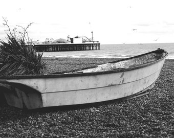 Boat - Boat Photo - Beach - Seaside - Nautical - Nautical Photo - Black and White - Digital Photo - Digital Download - Beach House Decor