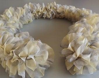 Pale Lemon and Grey Fabric Ruffle Scarf.  Hand Knitted Ruffle Scarf in Pale Lemon and Grey Fabric