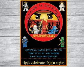 Ninjago Birthday invitation , Ninjago birthday,  Ninjago party, Ninjago,printable invitation