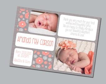 Photo Birth Announcement, Thank you card flyer, custom baby stats, Printable DIY, Corail & Grey flower theme, Baby girl