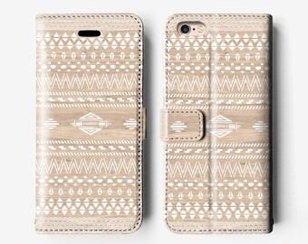 Aztec iPhone 6s leather wallet case, iPhone 6 folio case, iPhone 6 plus case, iPhone 6s Plus case, navajo white cream B030