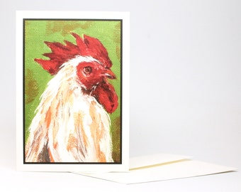 "Fine Art ""Scruffy Rooster"" Blank Single Card With Envelope"