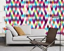 Wallpaper self adhesive vinyl, temporary, removable wallpaper, wall decal - multicolors diamonds