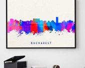 Bucharest Skyline, Bucharest Art, Romania Print, Black And White, Watercolor Print, Wall Art Decor, Birthday Gift (N101)
