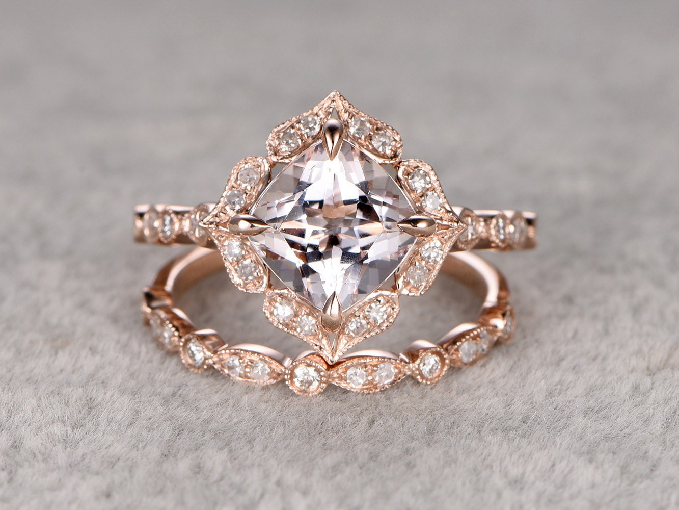 2pcs 8mm morganite bridal ring setart deco engagement ring. Black Bedroom Furniture Sets. Home Design Ideas