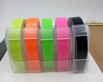 NEW Motex 4/5pcs FLUORO Pack Embossing Label Maker Refill Tapes Set (9mm x 3m)